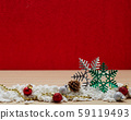 Christmas balls decoration on the red background 59119493