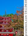 야마나시 현 니이 쿠라 후지 센겐 신사 가을 맑은 가을 하늘 59119630