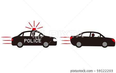 逃離警車的汽車追逐矢量素材。 59122203