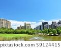 A refreshing blue sky apartment street 59124415