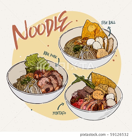 Noodle collection, Thai food. Hand draw sketch 59126532