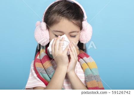 Portrait of  little girl having a flu 59126742