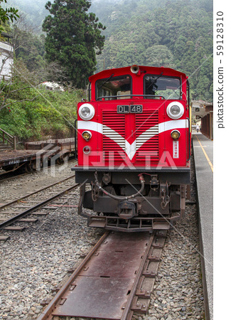 Alishan,taiwan-October 15,2018:The old red Train 59128310
