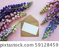 Mockup greeting card  with lupine flowers 59128459
