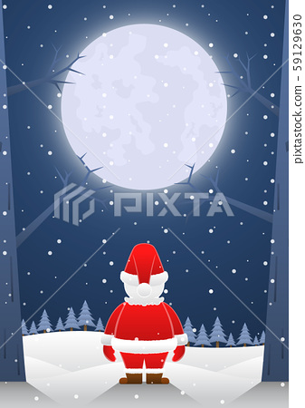 Santa claus standing alone on christmas night with 59129630