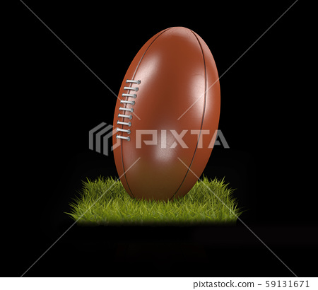 3D Rendering of a Rugby Ball on the grass 59131671