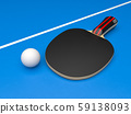 Black table tennis racket with ball. On blue background 59138093