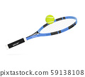 Tennis racket with yellow tennis ball 59138108