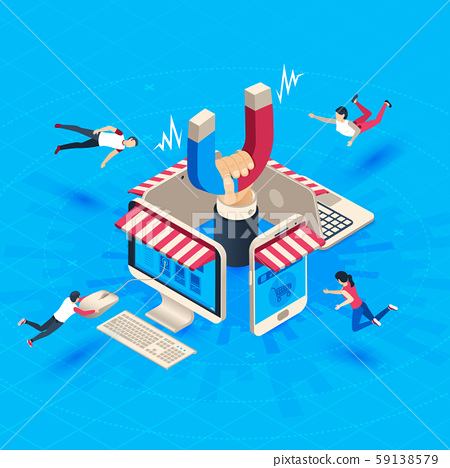 Web store customer attraction. Attract buyers, isometric retain loyal clients and social media 59138579