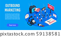 Outbound marketing isometric. Business market sales optimisation, corporate crm and social media ads 59138581
