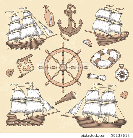 Vintage marine ships. Old cartouche frame, ship anchor and sea wheel with ancient compass. Ocean 59138618