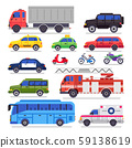 Flat auto transport. City road car, bicycle and motorcycle. Ambulance car, fire engine and town 59138619