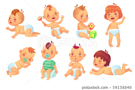 Cute baby. Happy cartoon babies, smiling and laughing toddler isolated vector character set 59138840