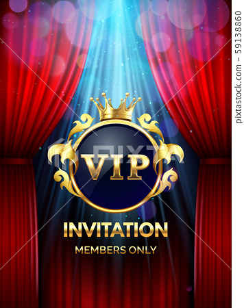 Premium invitation card. Vip party invite with golden crown and open red curtains. Grand opening 59138860