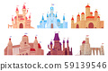 Medieval castle towers. Fairytail mansion exterior, king fortress castles and fortified palace with 59139546
