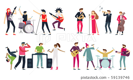 Music band. Jazz blues, punk rock and indie pop bands. Metal guitarist, drummer and rap singer 59139746