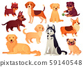 Cartoon puppy and dog. Happy puppies with smiling muzzle, loyal dogs and friendly dog isolated 59140548
