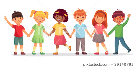 Happy kids team. Multinational childrens, school girls and boys stand together holding hands 59140793