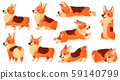 Cartoon dog character. Sleeping corgi dogs poses, pedigree dog fitness sport exercise and relaxing 59140799