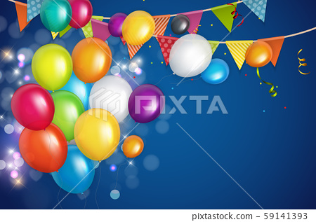 Color Glossy Happy Birthday Balloons Banner 59141393
