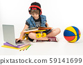 Picture of a teenager boy sits on floor in denim jacket and shorts. sneakers with yellow penny, red 59141699