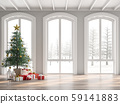 Classical empty room decorate with christmas tree 3d render 59141883