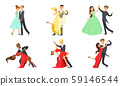Dancing Couples Set, Male and Female Dancers Performing Classical Dances Vector Illustration 59146544