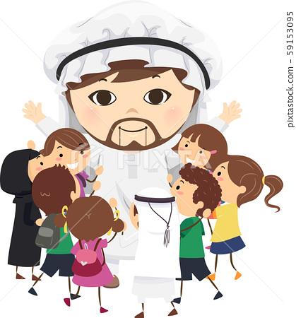 Stickman Kids Arab Mascot Hug Illustration 59153095