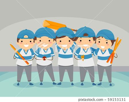 Stickman Kids Indoor Cricket Team Illustration 59153131