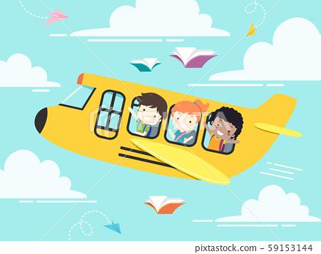 Kids Student School Plane Illustration 59153144