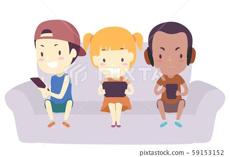 Kids Mobile Phone Play Games Illustration 59153152