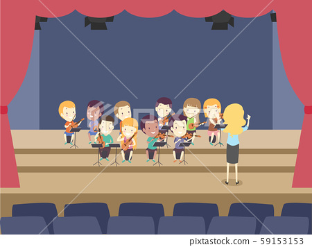 Kids Orchestra String Ensemble Rehearsal Stage 59153153