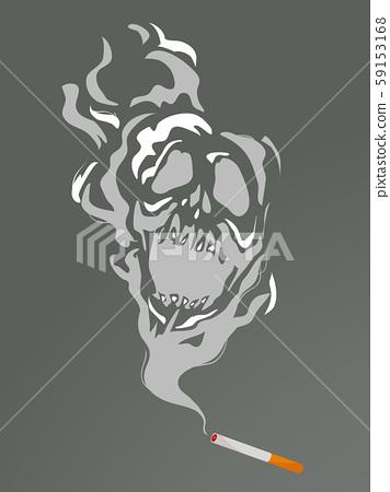Cigarette Smoke Skull Illustration 59153168