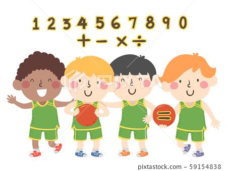 Kids Boys Basketball Numbers Math Illustration 59154838