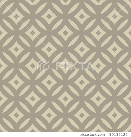 Entangled lines and dots forming middle eyes seamless vector geometry pattern in modern, stylish, minimal fashion. Abstract tiles repeat endlessly to create perfect pattern, wallpaper, or background. 59155122