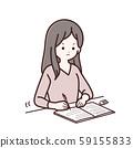 写笔记的长袖衣服的女人 59155833