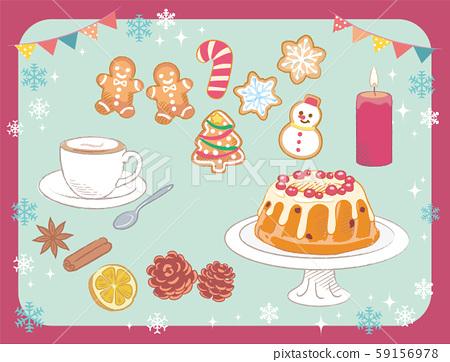 크리스마스 과자류, 케이크, 장식 쿠키의 소재. 59156978