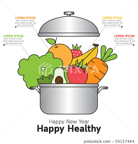 Various kind of vegetable for happy new year healthy greeting card. 59157464