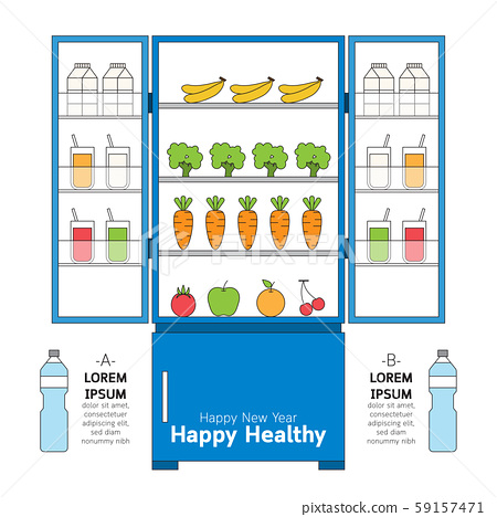 Happy healthy with various kind of vegetable, fruit and drink in refrigerator. 59157471