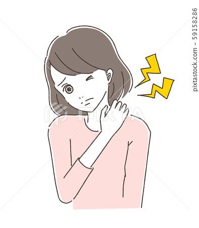 Women suffering from stiff shoulders 59158286