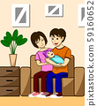 Husband, wife and children. The father is carrying the child with the mother, she is sitting beside her husband and her children. Both were sitting on the sofa in the living room of their house. 59160652