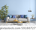Modern interior of living room with sofa, wooden 59160727