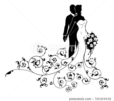 Bride and Groom Wedding Silhouette Concept 59164438