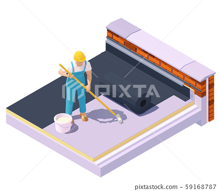 Vector isometric worker at flat roof insulation 59168787