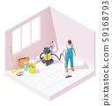 Vector isometric house cleaning after renovation 59168793