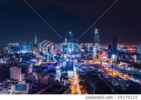 胡志明市,越南夜視圖 59170115