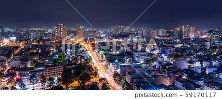 胡志明市,越南夜視圖 59170117