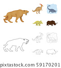 Vector design of animal and character logo. Set of animal and ancient vector icon for stock. 59170201