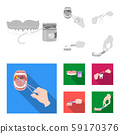 Vector design of tooth and happy icon. Set of tooth and whitening stock symbol for web. 59170376