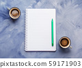 Two coffee cups and blank notepad page 59171903